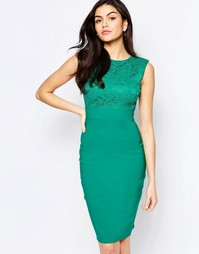 Платье-футляр миди с кружевным лифом City Goddess - Зеленый