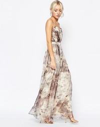 Платье макси с лифом-бандо и принтом Little Mistress - Мульти