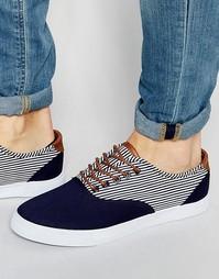 Кеды на шнурках с синими и белыми полосками ASOS - Синий