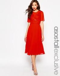 Приталенное платье миди с кружевом и плиссировкой ASOS TALL - Красный
