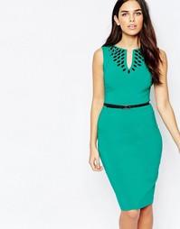 Платье миди с отделкой и ремнем Hybrid Fleur