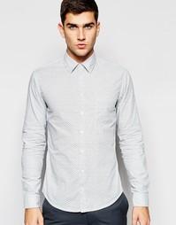 Рубашка слим с волнообразным принтом Boss Orange - Белый