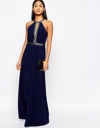 Платье макси с глубоким вырезом спереди и отделкой Lipsy - Темно-синий