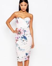 Платье-футляр со сплошным цветочным принтом и лифом-бандо Lipsy