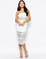 Кружевное платье-бандо миди Missguided - Белый