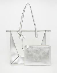 Прозрачная пляжная сумка со съемным клатчем ASOS - Серебряный