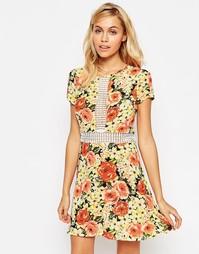 Платье-трапеция с ажурной вставкой Madam Rage - Цветочный