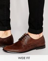 Коричневые кожаные туфли дерби на широкую стопу ASOS - Коричневый