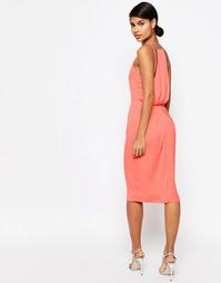Платье-футляр миди с драпировкой сзади ASOS - Коралловый