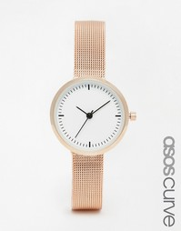 Часы с узким сетчатым ремешком ASOS CURVE - Розовое золото