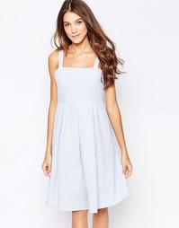 Платье миди с принтом в полоску Style London - Синий