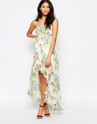 Платье макси с принтом птиц Mela Loves London - Кремовый