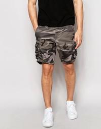 Камуфляжные шорты карго Selected Homme - Хаки