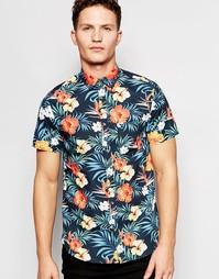Рубашка со сплошным цветочным принтом и короткими рукавами Jack & Jone