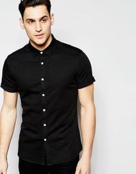 Черная джинсовая рубашка скинни с короткими рукавами ASOS - Черный