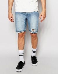 Рваные узкие джинсовые шорты ASOS - Винтажный синий