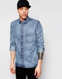 Синяя джинсовая рубашка с эффектом кислотной стирки Cheap Monday