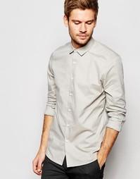 Фактурная меланжевая рубашка в строгом стиле оливкового цвета ASOS