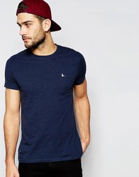 Темно-синяя футболка слим в крапинку с карманом Jack Wills