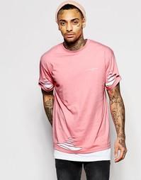 Двойная длинная футболка с прорехами Illusive London - Розовый