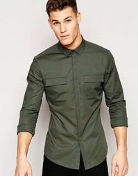 Зауженная рубашка милитари цвета хаки с длинным рукавом ASOS - Хаки
