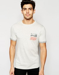 Футболка с принтом и карманом Brave Soul USA - Серый