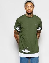 Двойная длинная футболка с прорехами Illusive London - Зеленый