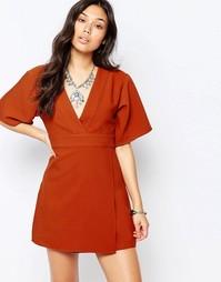 Чайное платье с рукавами 3/4 Glamorous - Красно-бурый
