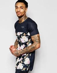 Длинная футболка с контрастным цветочным принтом Illusive London