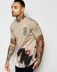 Длинная футболка с закругленной кромкой Criminal Damage - Телесный