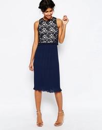 Плиссированное платье миди с кружевным лифом ASOS - Темно-синий