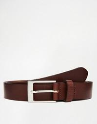 Кожаный коричневый ремень с тисненой отделкой ASOS - Коричневый