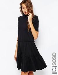 Ярусное свободное платье ASOS TALL - Черный
