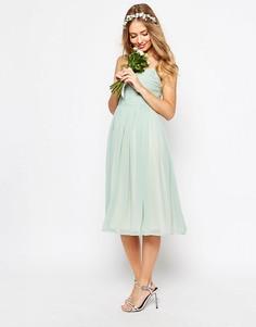 Присборенное платье миди ASOS WEDDING - Зеленый