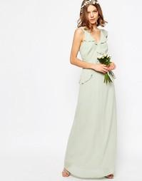 Платье макси с оборками ASOS WEDDING - Зеленый