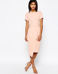 Платье-футляр с поясом и драпировкой ASOS - Телесный