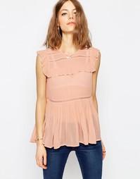 Блузка с рюшами и кружевными вставками ASOS - Blush