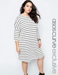 Платье-рубашка в полоску ASOS CURVE - Полоски