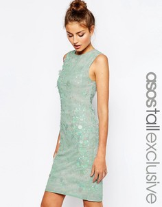 Цельнокройное платье миди с принтом и отделкой ASOS TALL