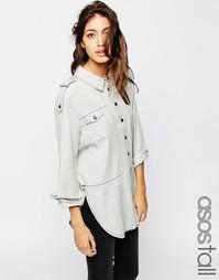 Серая выбеленная джинсовая рубашка в стиле милитари ASOS TALL Premium