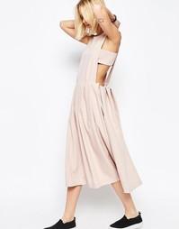 Платье-сарафан с плиссированной кромкой ASOS WHITE - Розовый