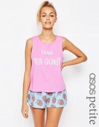 Пижамный комплект с майкой и шортами ASOS PETITE Shake Your Coconuts