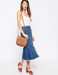 Джинсовая юбка миди с оборкой ASOS - Синий выбеленный