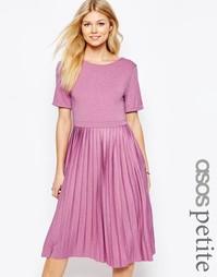 Платье миди с плиссировкой ASOS PETITE - Серый