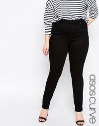 Укороченные черные джинсы с классической талией ASOS CURVE Lisbon