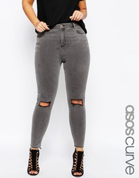Серые джинсы скинни с декоративными прорехами ASOS CURVE Ridley