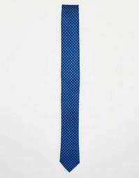 Галстук с мелким цветочным принтом ASOS - Темно-синий