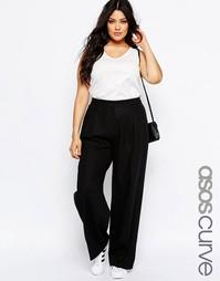 Льняные брюки с широкими брючинами ASOS CURVE - Черный