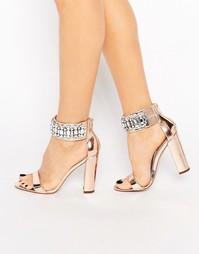 Декорированные сандалии на каблуке ASOS HI AND LOW - Телесный