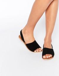 Замшевые сандалии с открытым носком Boohoo Boutique - Черный